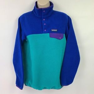 Patagonia XS Synchilla pullover snap green blue